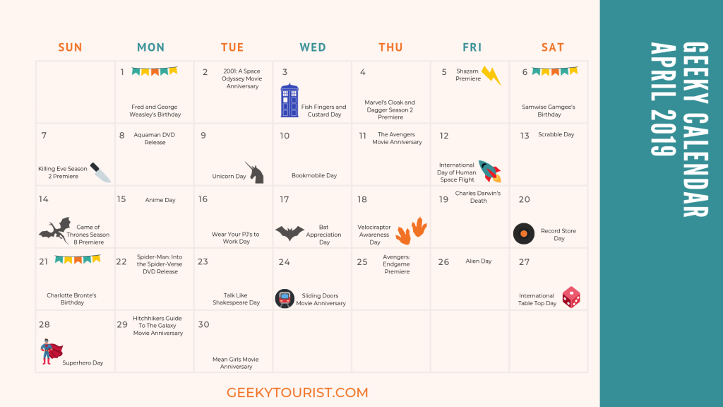 30 Geeky Things to Celebrate in April | Geeky Calendar